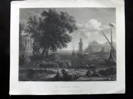 After Claude Lorrain C1870 Art Journal Print. The Beacon Tower